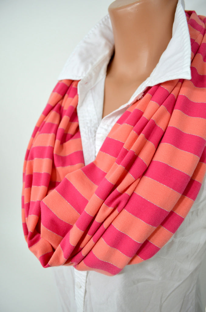Striped Scarf Thin Ultra Soft Infinity Scarf Neck Warmer Long Circle Scarf Winter Scarf Unisex - hisOpal Swimwear - 1