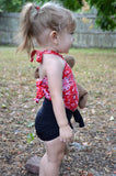 Baby Bathing Suit Red Bandana and Black Wrap Around Swimsuit Girls Swimwear Newborn to 3T - hisOpal Swimwear - 3