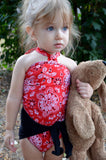 Baby Bathing Suit Red Bandana and Black Wrap Around Swimsuit Girls Swimwear Newborn to 3T - hisOpal Swimwear - 2