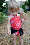 Baby Bathing Suit Red Bandana and Black Wrap Around Swimsuit Girls Swimwear Newborn to 3T - hisOpal Swimwear - 4