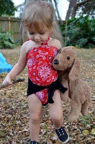Baby Bathing Suit Red Bandana and Black Wrap Around Swimsuit Girls Swimwear Newborn to 3T