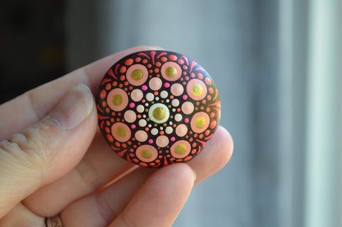 Hand Painted Sea Bean, Mini Mandala, drift seed, Red Mandala, painted rock section