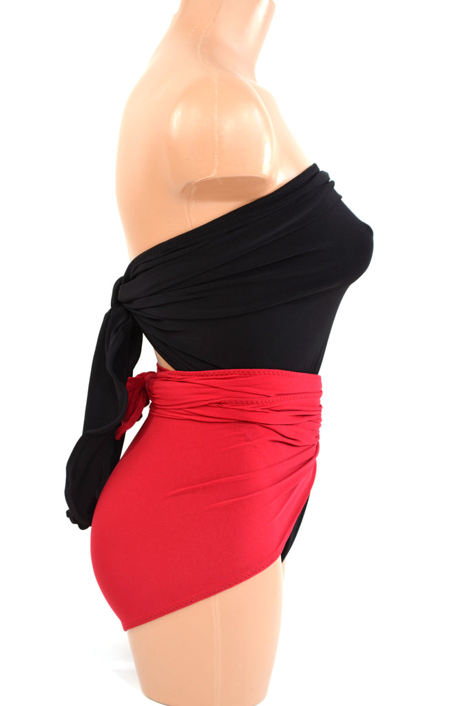 e828ac14d25 Large Bathing Suit Wrap Around Swimsuit Classic Black w  True Red Edgy  Swimwear One Wrap