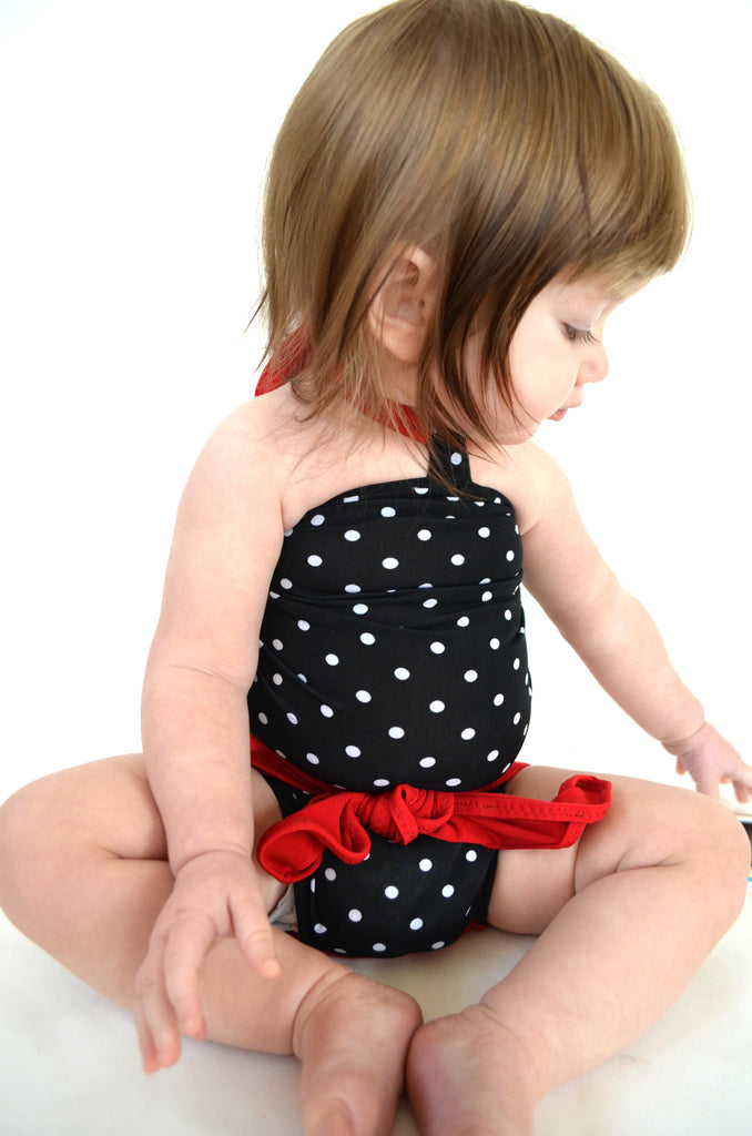 Baby Bathing Suit True Red and Black with White Polka Dots Wrap Around Swimsuit Toddler Swimwear - hisOpal Swimwear - 1