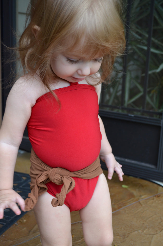 Baby Bathing Suit Copper Gold Flecked w/ Red One Wrap Girls Swimsuit Unique Baby Girls Swimwear - hisOpal Swimwear - 1