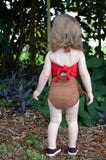 Baby Bathing Suit Copper Gold Flecked w/ Red One Wrap Girls Swimsuit Unique Baby Girls Swimwear - hisOpal Swimwear - 4