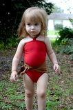 Baby Bathing Suit Copper Gold Flecked w/ Red One Wrap Girls Swimsuit Unique Baby Girls Swimwear - hisOpal Swimwear - 3
