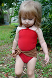 Baby Bathing Suit Copper Gold Flecked w/ Red One Wrap Girls Swimsuit Unique Baby Girls Swimwear - hisOpal Swimwear - 2