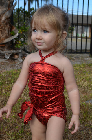 Baby Bathing Suit Metallic Red Crocodile Wrap Around Swimsuit Newborn and Toddler Girls Swimwear