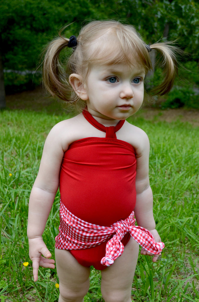 Baby Bathing Suit Red Gingham Print with True Red Wrap Around Swimsuit One Size Newborn Toddler - hisOpal Swimwear - 1