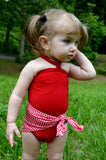 Baby Bathing Suit Red Gingham Print with True Red Wrap Around Swimsuit One Size Newborn Toddler - hisOpal Swimwear - 2