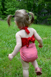 Baby Bathing Suit Red Gingham Print with True Red Wrap Around Swimsuit One Size Newborn Toddler - hisOpal Swimwear - 3