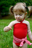 Baby Bathing Suit Red Gingham Print with True Red Wrap Around Swimsuit One Size Newborn Toddler - hisOpal Swimwear - 5