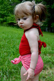 Baby Bathing Suit Red Gingham Print with True Red Wrap Around Swimsuit One Size Newborn Toddler - hisOpal Swimwear - 6