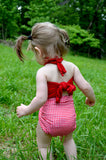 Baby Bathing Suit Red Gingham Print with True Red Wrap Around Swimsuit One Size Newborn Toddler - hisOpal Swimwear - 7