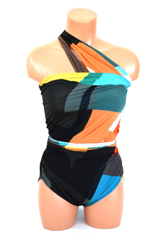 Medium Bathing Suit Retro Color Block Wrap Around Swimsuit One Wrap Swimwear Turquoise Black