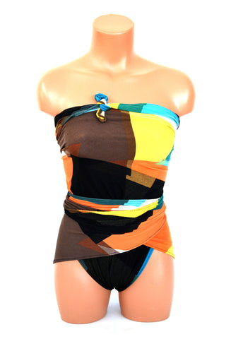 Extra Large Bathing Suit Retro Color Block Plus Size Wrap Around Swimsuit XL Swimwear Maternity