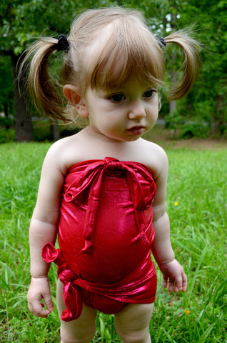 Baby Bathing Suit Metallic Ruby Red Wrap Around Swimsuit Toddler Girls One Size Tie On Swimwear