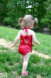 Baby Bathing Suit Metallic Ruby Red Wrap Around Swimsuit Toddler Girls One Size Tie On Swimwear - hisOpal Swimwear - 3