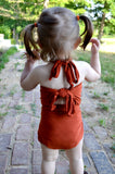 Baby Bathing Suit Rust Orange Wrap Around Swimsuit Toddler Girls Swimwear Infant Newborn - hisOpal Swimwear - 2