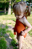 Baby Bathing Suit Rust Orange Wrap Around Swimsuit Toddler Girls Swimwear Infant Newborn - hisOpal Swimwear - 3