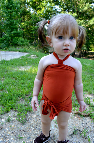 Baby Bathing Suit Rust Orange Wrap Around Swimsuit Toddler Girls Swimwear Infant Newborn