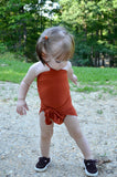 Baby Bathing Suit Rust Orange Wrap Around Swimsuit Toddler Girls Swimwear Infant Newborn - hisOpal Swimwear - 4