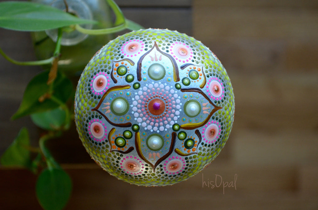 Hand Painted Mandala Stone, Boho Wedding, Jewel Drop Mandala, hisOpal Rocks, painted rock art