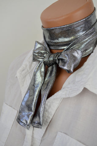 Metallic Silver Scarf Women's Neck Tie Lightweight Layering Scarf Unisex Neck Bow