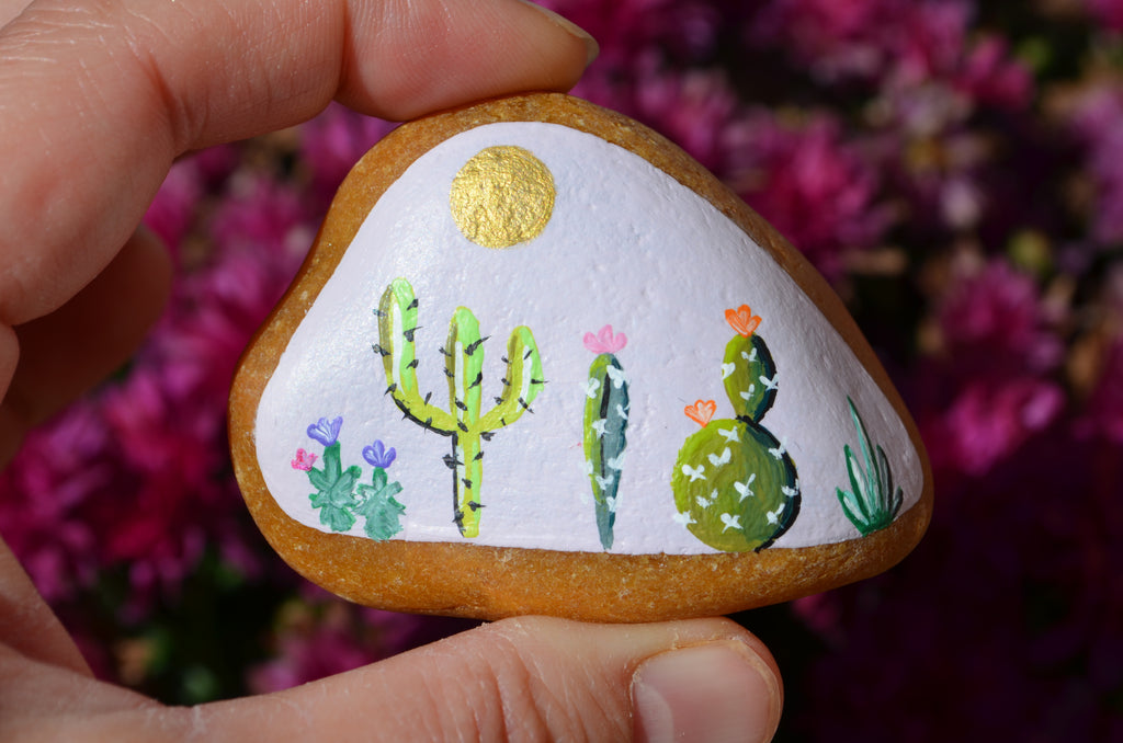 Painted Cactus Rock, Desktop Decor, Cactus Art, Hand Painted Rock, Southwestern Decor, Cacti