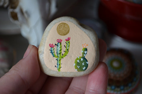 Painted Cactus Rock, Cactus Art, Hand Painted Rock, Southwestern Decor, Boho
