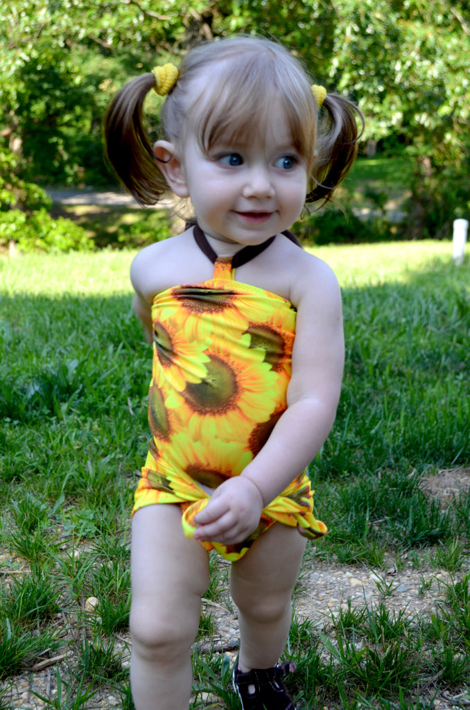Baby Bathing Suit Sunflower Print Wrap Around Swimsuit One Size Swimwear Newborn Infant Toddler - hisOpal Swimwear - 1