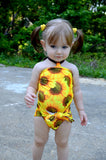 Baby Bathing Suit Sunflower Print Wrap Around Swimsuit One Size Swimwear Newborn Infant Toddler - hisOpal Swimwear - 2