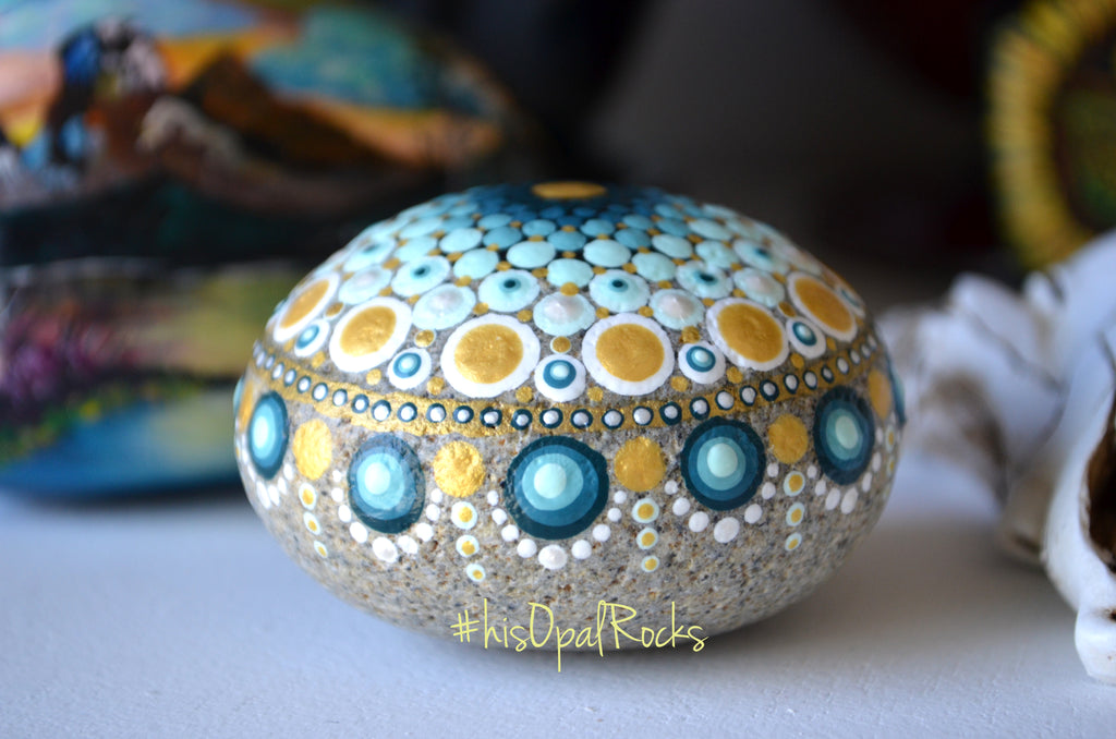 Teal Mandala Stone, New Mommy Gift, Baby Shower Boy, Hand Painted Rock, Meditation Stone, Boho