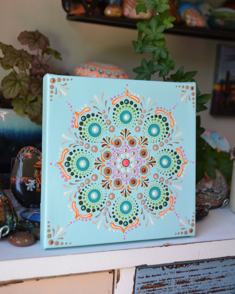 Original Painted Canvas Art, Mandala Art, hisOpal Art, Mandala Canvas 6x6 inch, Southwest Decor, Boho Decor