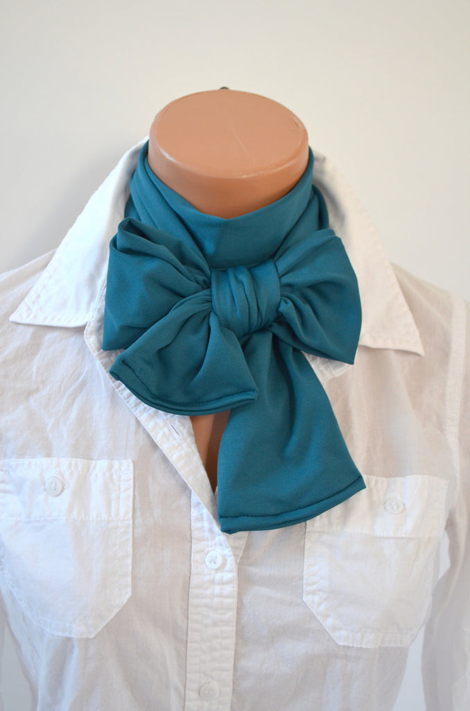 Teal Scarf Extra Thick Neck Tie Lightweight Scarf Head Wrap Thick Neck Bow Neck Warmer Bow Tie - hisOpal Swimwear - 1