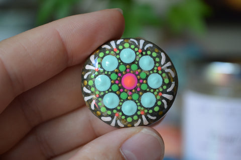 Small Mandala Stone, Hand Painted Rock, Mini Mandala, Gift for Her, Aqua and Green, Boho Decor