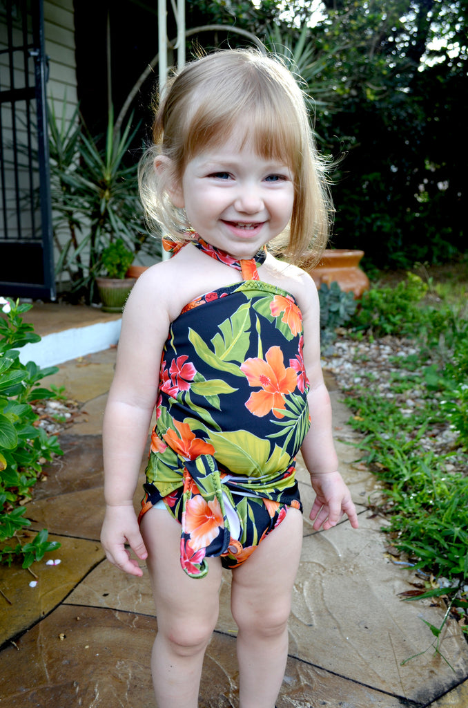 Girls Bathing Suit Tropical Floral Print Wrap Around Bikini One Size Swimwear Infant Swimwear - hisOpal Swimwear - 1