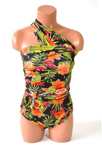 Extra Large Bathing Suit Tropical Flower Print Wrap Around Swimsuit Maternity Swimwear Plus Size XL