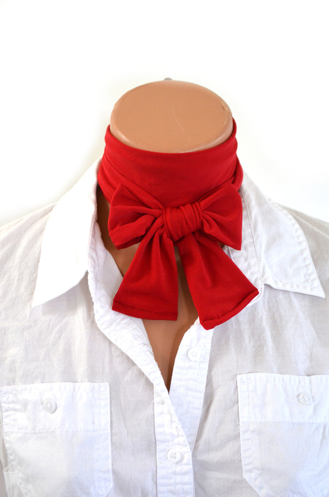 True Red Scarf Women's Neck Tie Lightweight Scarf Hair Tie Red Sash Belt Christmas Necktie hisOpal Red Scarf Cravat Unisex Holiday Tie - hisOpal Swimwear - 1