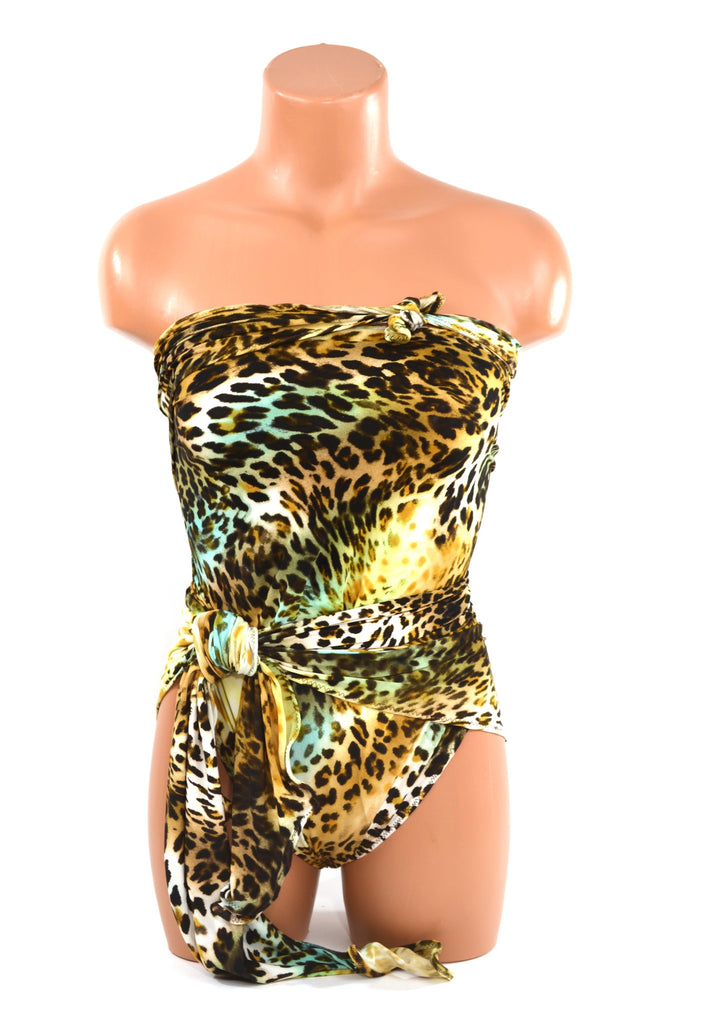 Extra Large Swimsuit Leopard Turquoise Animal Print Swimwear Wrap Around Bathing Suit Plus Size Swimsuit for Women, Teens and Maternity - hisOpal Swimwear - 1