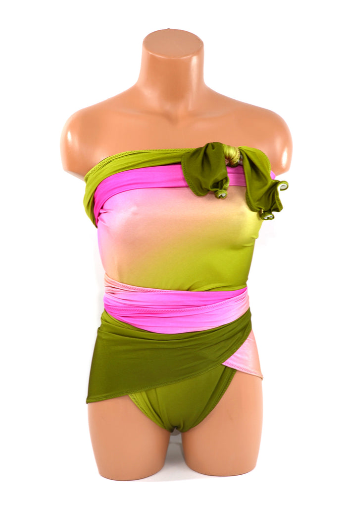 Extra Large Bathing Suit Watermelon Wrap Around Swimsuit Hot Pink with Olive Ombre Plus Size Swimwear - hisOpal Swimwear - 1