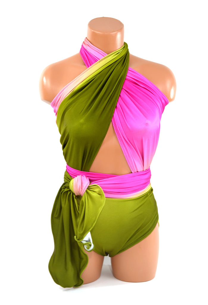 Large Bathing Suit Watermelon Wrap Around Swimsuit Hot Pink w/ Olive Ombre One Wrap Swimwear - hisOpal Swimwear - 1
