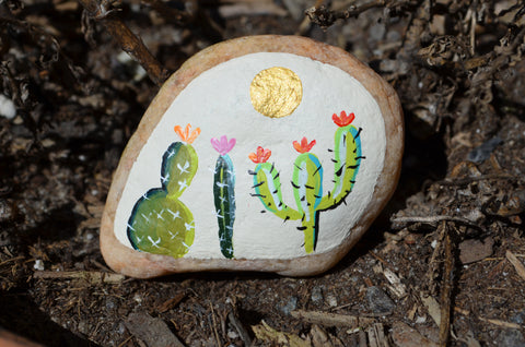Painted Rock Desert, Cactus Rock, Cactus Garden, Hand Painted Rock Art, Southwestern Decor