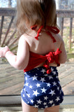 Baby Bathing Suit Red and Blue with White Stars Red White and Blue Patriotic Swimsuit - hisOpal Swimwear - 6