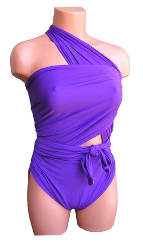 Extra Large Bathing Suit Purple Wrap Around Swimsuit Plus Size Teen and Maternity XL Swimwear