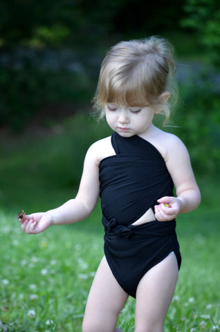 Extra Small Bathing Suit Classic Black Wrap Around Swimsuit Pre Teen and Young Girls Swimwear