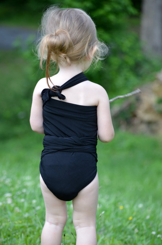 extra small bathing suit classic black wrap around swimsuit pre teen a hisopal swimwear. Black Bedroom Furniture Sets. Home Design Ideas