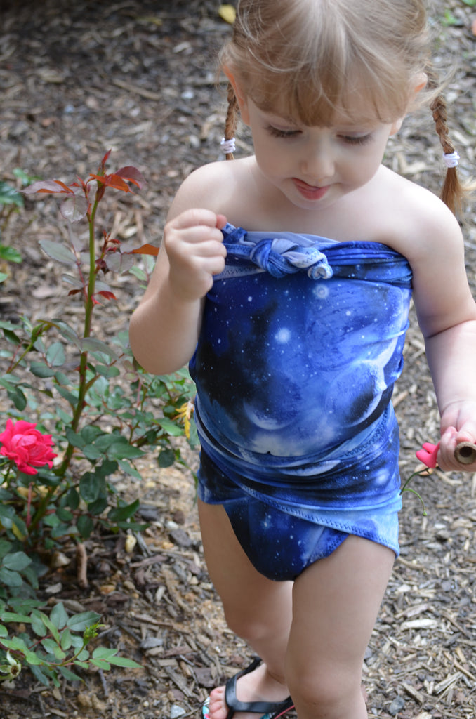 Extra Small Bathing Suit Royal Blue Galaxy Print Wrap Around Swimsuit Girl's