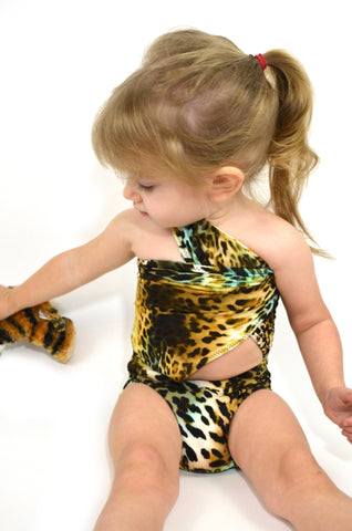 Extra Small Bathing Suit Leopard Print Wrap-around Swimsuit Pre Teen and Girls Swimwear